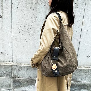 polta - Olive tannin dyed canvas × leather bag