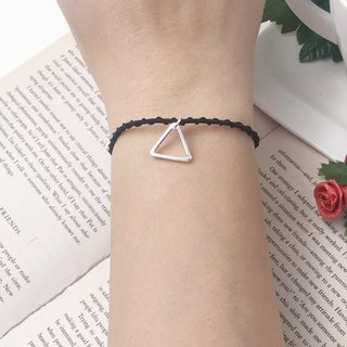 *Le Bonheur happy Line line*925 Silver Triangle / red silver braided rope bracelet surf geometric symbols minimalist musical triangle