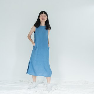 True Blue Big Bow Linen Dress