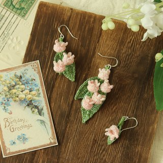 Lily-of-the-line earrings pink three optional crochet rain flower pure silver ear hook ear clip Tanabata