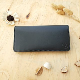 11 card long clip (upright / horizontal card layer) │ black vegetable tanned leather hand dyed color can be branded (10 words)