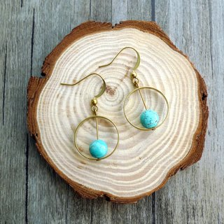 Misssheep-BN16-Natural Mineral Series-Brass turquoise earrings (with ear clip)