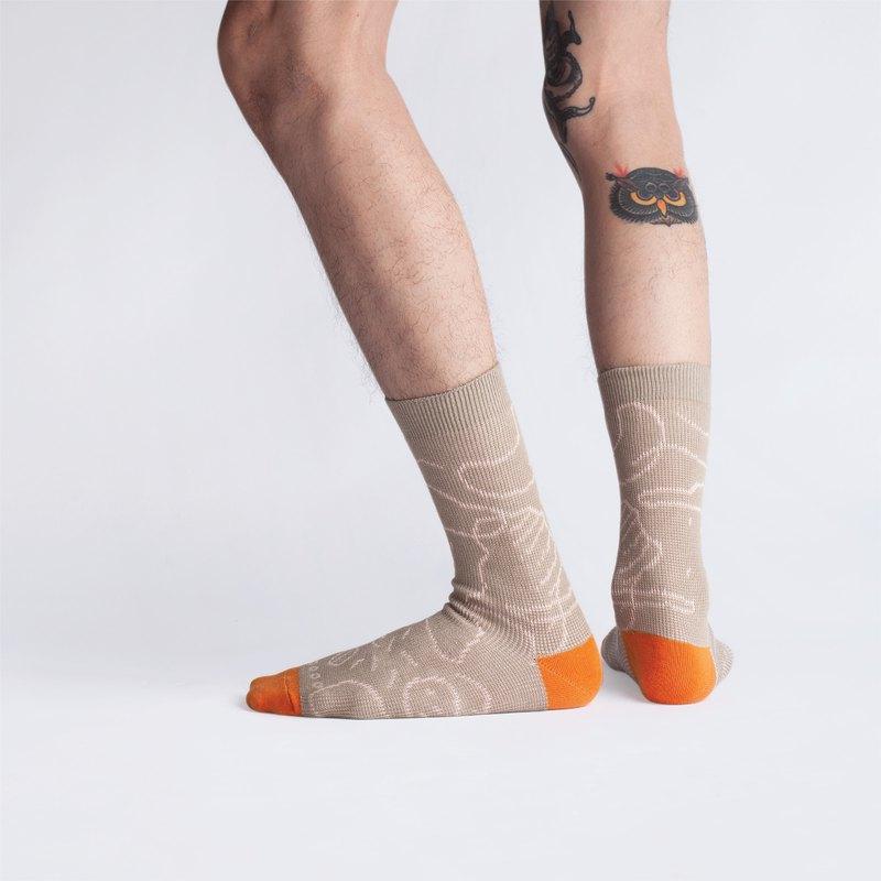 月島系列 - 卡其色 中筒襪