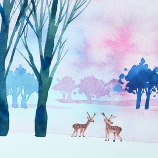 Healing Forest Series b7 - Watercolor Hand Painted Limited Edition Postcard/Christmas Card
