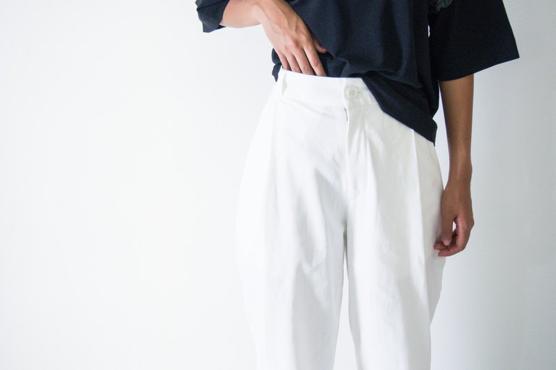 Mani Mina White Front Pleat Pants