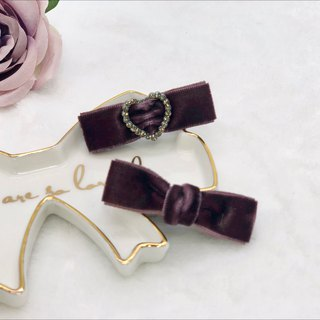 Mini Velvet Hair Clips Set (Dark Purple)