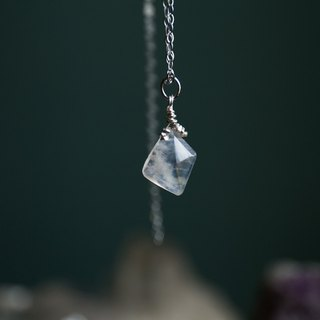 Moon Fragment Ice Blue Moonstone 925 Sterling Silver Clavicle Necklace