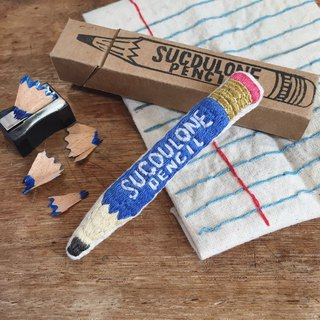 Stationery Series / Pencil (BLUE) / Hand Embroidery Pin Brooch