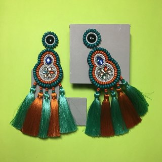 earrings : boho chic x 5th green l orange