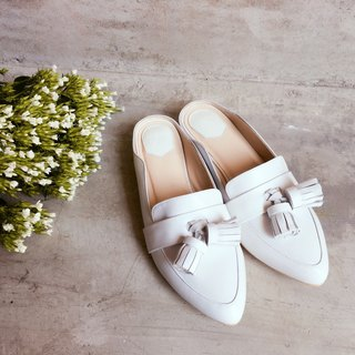 Classic Girl Series No 5 - SALLY   White leather  Mule shoes