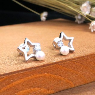 Star Pearl Sterling Silver Earrings (White K Gold)
