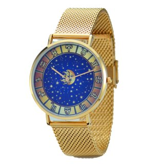 Classic Minimalist 12 Constellation Circle Watch with Mesh Strap