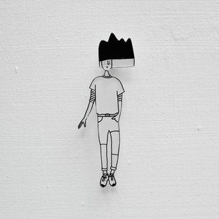 Miss Hairy Collection / Black and White Brooch / 014