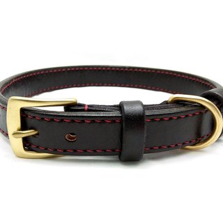 [Handsome hand-made leather collar double-thick leather collar L]