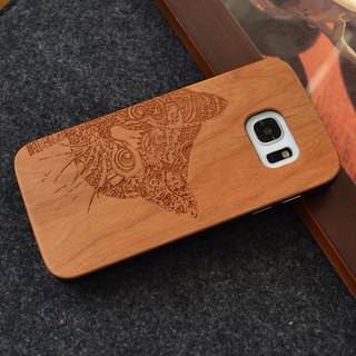 Custom cute cat personalized laser engraving Samsung S5 / S6 / S7 / S6 edge / S7 edge pure natural wood + green frosted plastic phone shell