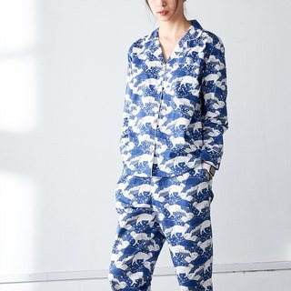 瞅啥喵 cotton blue cat print home pajamas set long-sleeved shirt trousers home out two