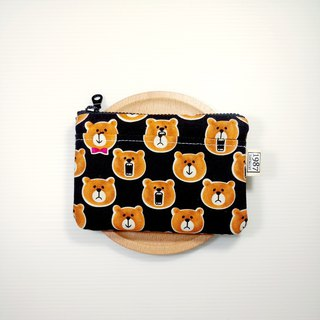 [Crash Bear - Black] Coin Purse Clutch Bag with Zipper Bag Christmas Exchange Gift