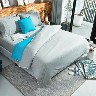 Collagen Skin Organic Cotton Knitted Quilt Cover (Lake Blue)
