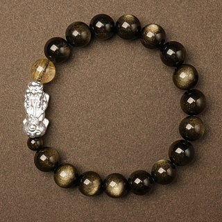 Lucky Fortune career bracelet VISHI original natural 10mm blonde crystal enamel foot silver 貔貅 couple