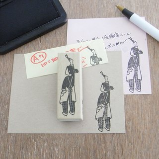 Hand made rubber stamp a girl drawing a picture