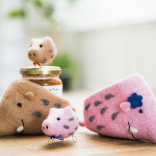 Earth tree fair trade fair trade -- pink pig wool felt container ornaments