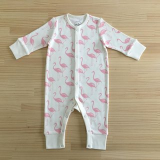 Love flamingo - organic cotton long-sleeved one-piece dress 6 ~ 12M