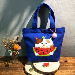 Wool felt embroidery green lunch bag - eat watermelon three cat