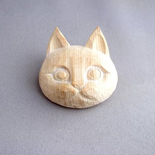 Wood carving eyed cat brooch