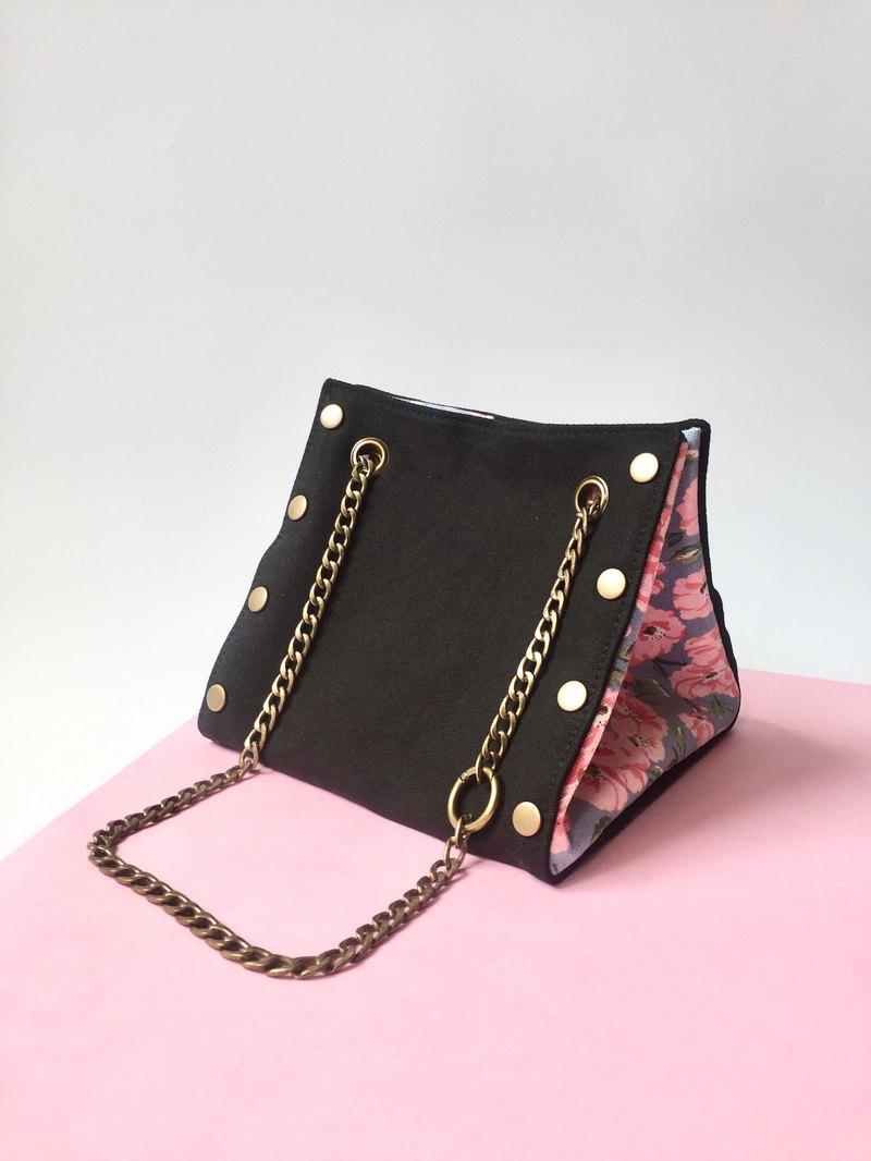 原創 小方形 帆布鏈包-黑色套裝-多款圖案自由配搭隨時替換