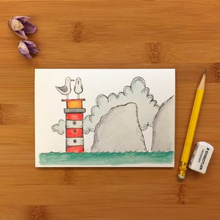 SEA GULL SAD NEEDLES Seagull Lighthouse Universal card hand-painted illustration green paper imported from the United Kingdom 019