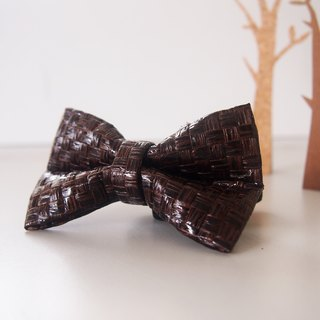Personalized Name Dark Brown Grass Woven Mens Bowtie, Groomsmen Bow Tie