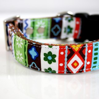 Retro Tyrolean Dog Collar - red, blue - silver