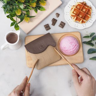 Waffle (Chocolate) : Mini coin purse, Warm taupe purse