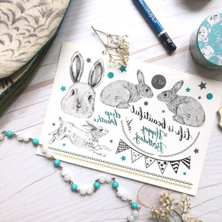 adc|party animals|calligraphy|tattoo sticker(birthday rabbit)