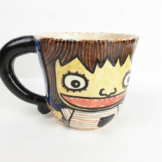 Nice Little Clay handmade mug girl with hyena 0103-17