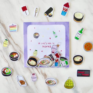 Korean food map / transparent hand sticker