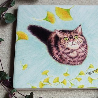 Cat looking up at ginkgo tree_ceramic water coaster