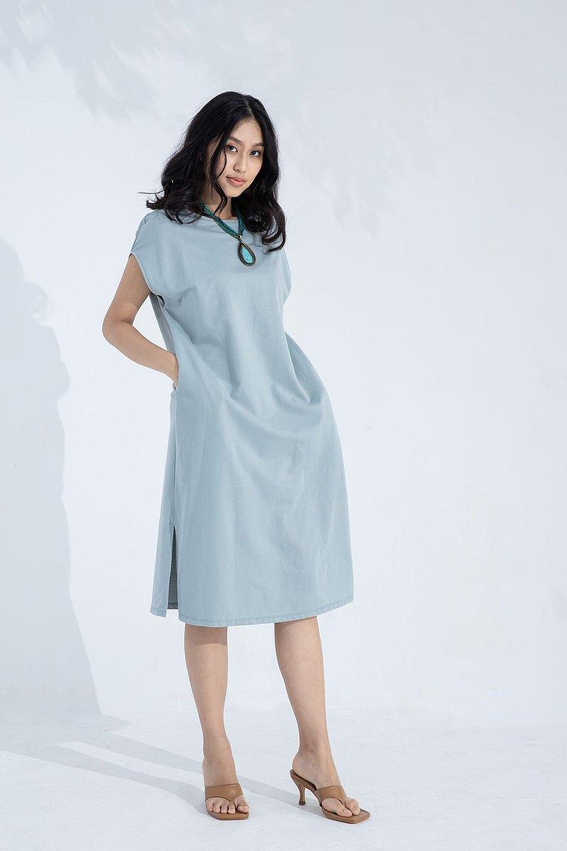 簡約長版運動洋裝(藍)