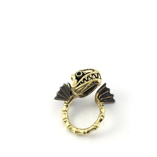 Zodiac Fish bone ring is for Pisces in Brass and oxidized antique color ,Rocker jewelry ,Skull jewelry,Biker jewelry