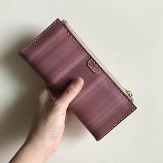 Leather long clip │ 8 card layer │ 2 banknotes │ coin pocket │ raspberry │ long wallet