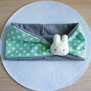Lovely [Bunny pin bristles bow neck scarf] apple green, winter goods