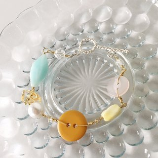 Antique button and beads bracelet - Yellow -