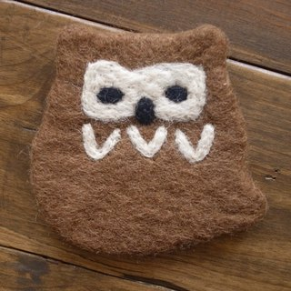 【Grooving the beats】Cup coasters, Felt coasters(Animal_Owl_Brown)