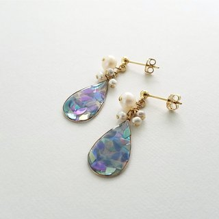 mosaic drop and freshwater pearl pierced or clip-on earrings (blue-gray)