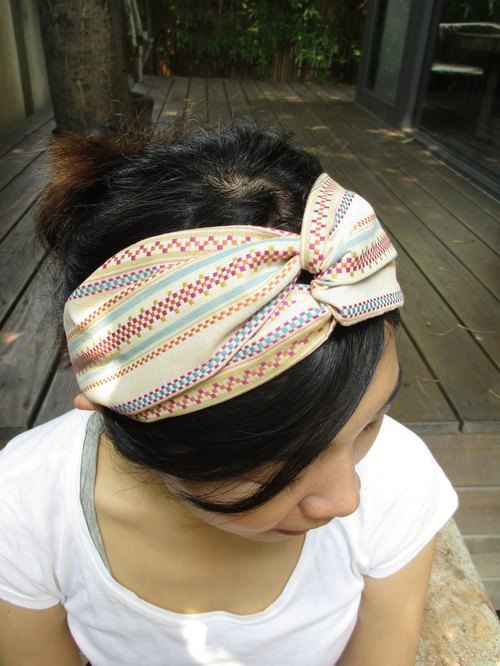 Cross hair band (elastic hand) - nostalgic - white