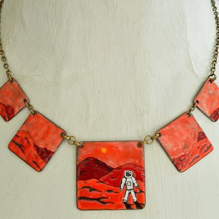 Jewelry, Necklace, Enamel, Mars, Astronaut, Panorama Landscape, Mars Jewelry, Enamel Necklace, Statement Necklace, Boho Necklace, Mars Enamel, Boho Enamel Necklace