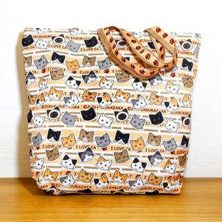 Cat big collection ~ cat big head zip tote bag