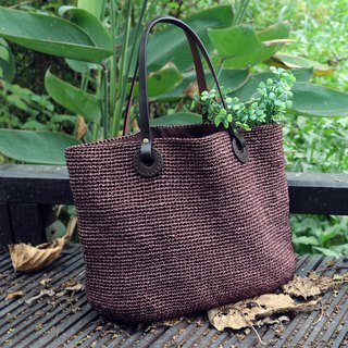 Handmade - Japanese Tote Bag - Coffee - Plant Leather Leather Handle - Travel / Light Travel / Birthday Gift