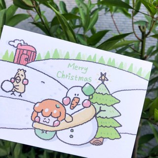 Christmas with snowman / double-sided card