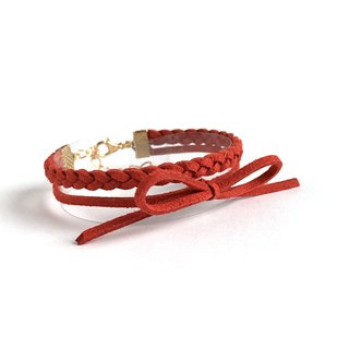 Handmade Double Braided Stylish Bracelets Rose Gold Series–burgundy red